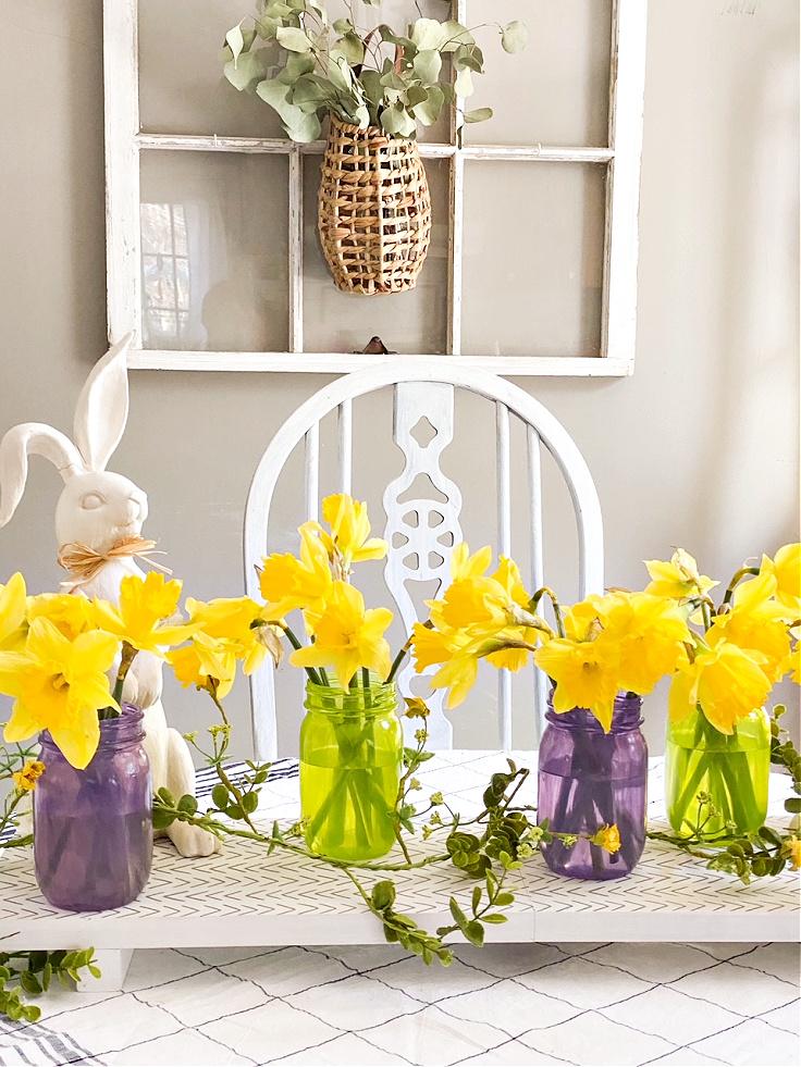 mason jar centerpiece with daffodils
