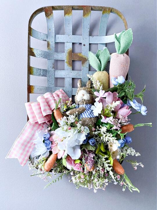 tobacco basket wreath on gray wall