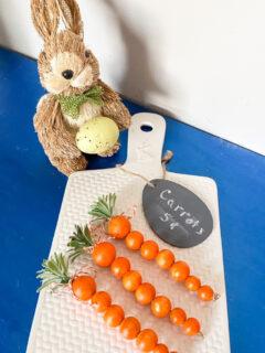 wood bead carrots with bunny