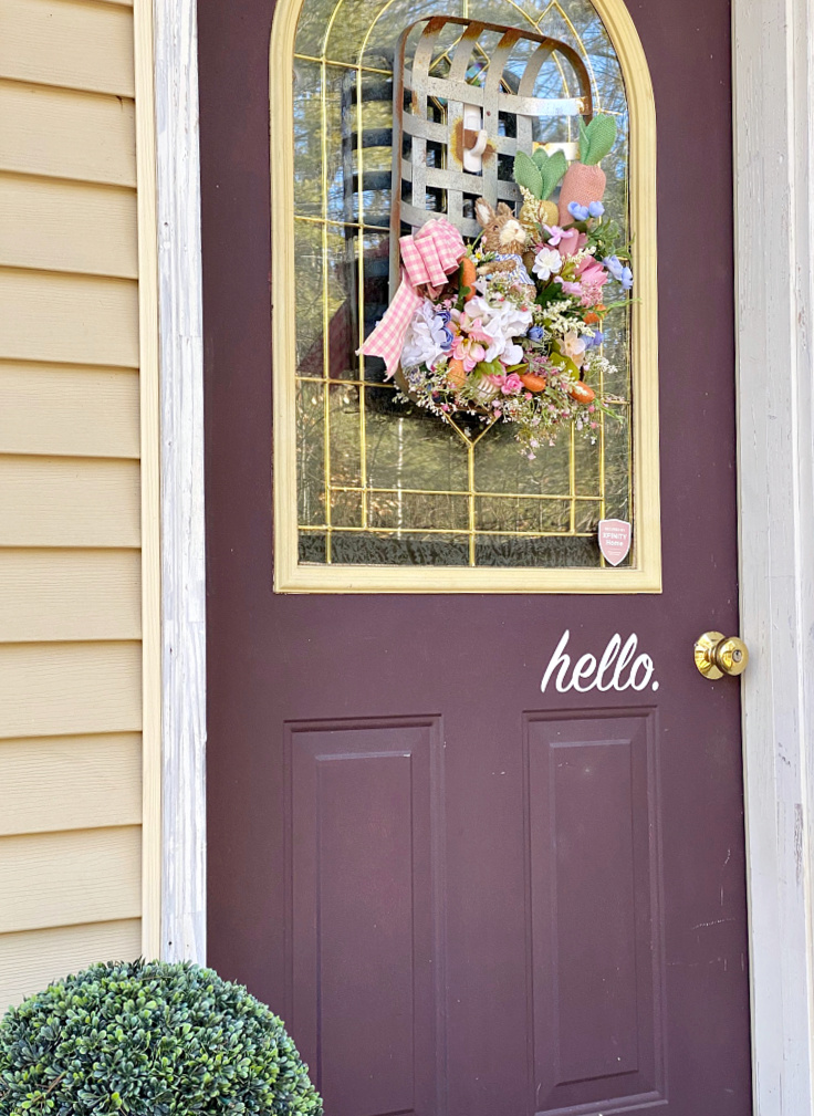 front porch with spring tobacco basket