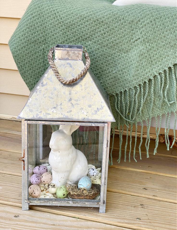 galvanized metal lantern with bunny