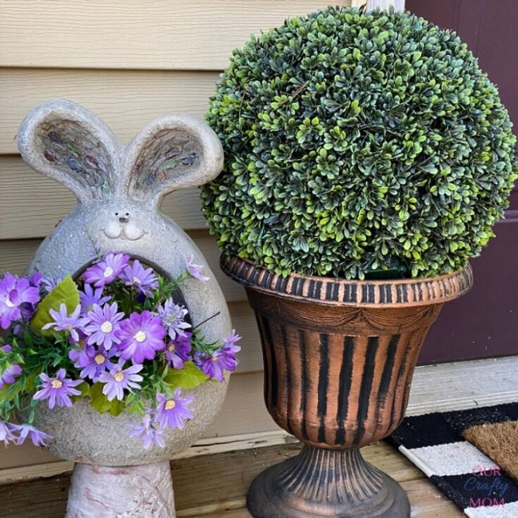 bunny planter and topiary on front porch