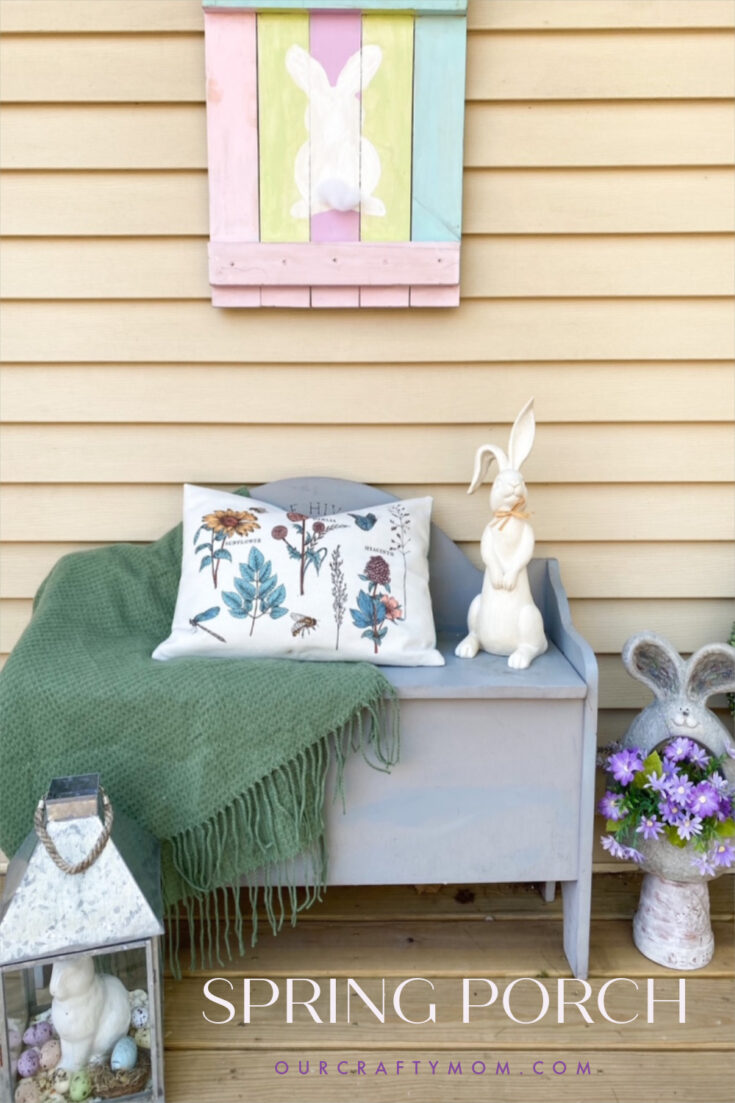 front porch with spring decorations