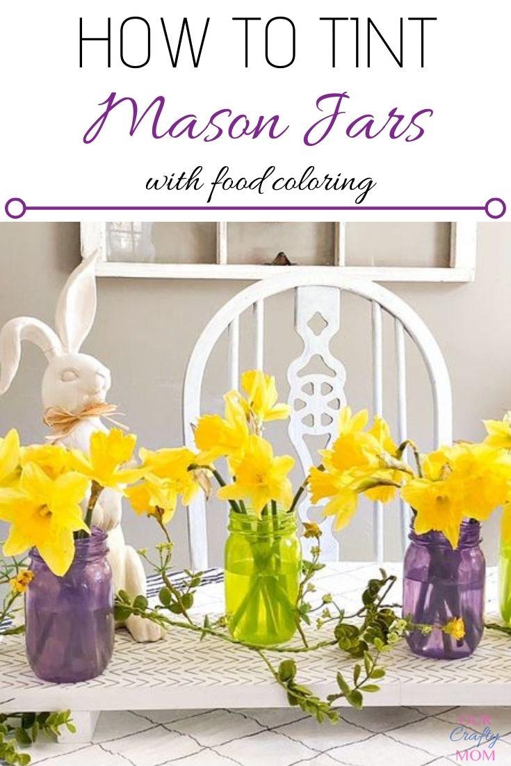 mason jars and daffodils centerpiece
