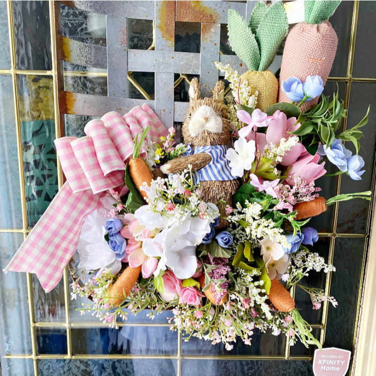 spring tobacco basket wreath on front door