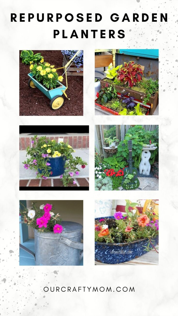 collage of repurposed garden planters with text overlay