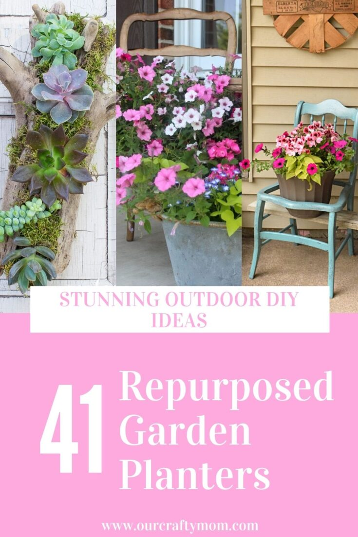 repurposed garden ideas collage with text overlay