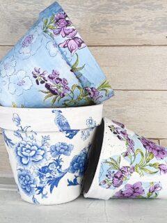 3 decoupaged garden pots