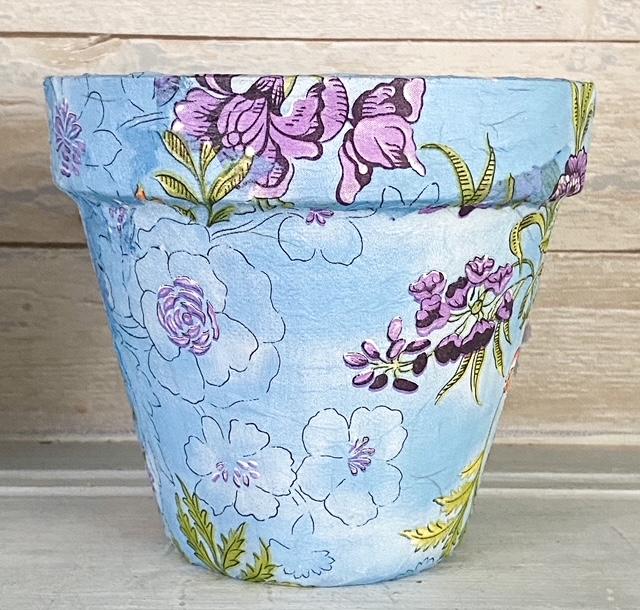 finished decoupage garden pot