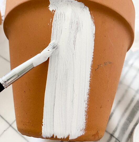 white paint on garden pot