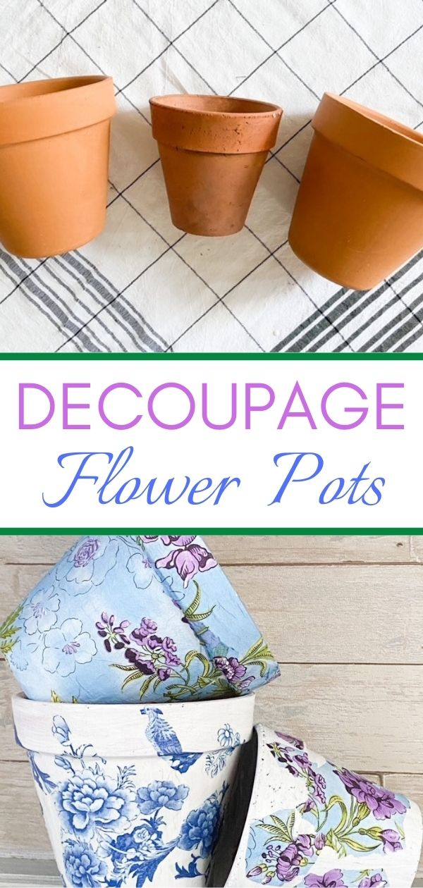 before and after decoupage flower pots