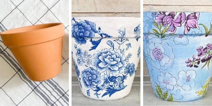 set of 3 garden pots with napkins