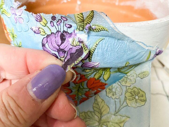 fixing ripped decoupage napkin