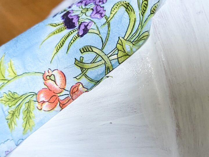 blue napkins decoupage on garden pots