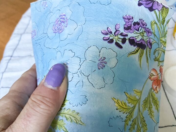 garden pot in decoupage napkin