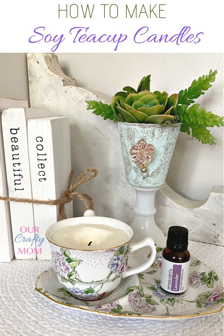 teacup candle on table vignette