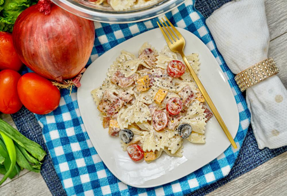 plated Bacon Cheddar Ranch Pasta Salad