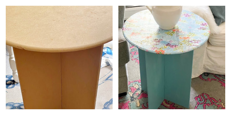 before and after round table makeover
