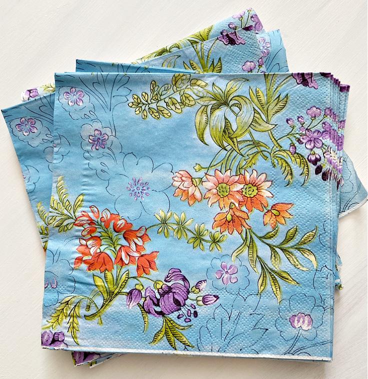 blue floral napkins