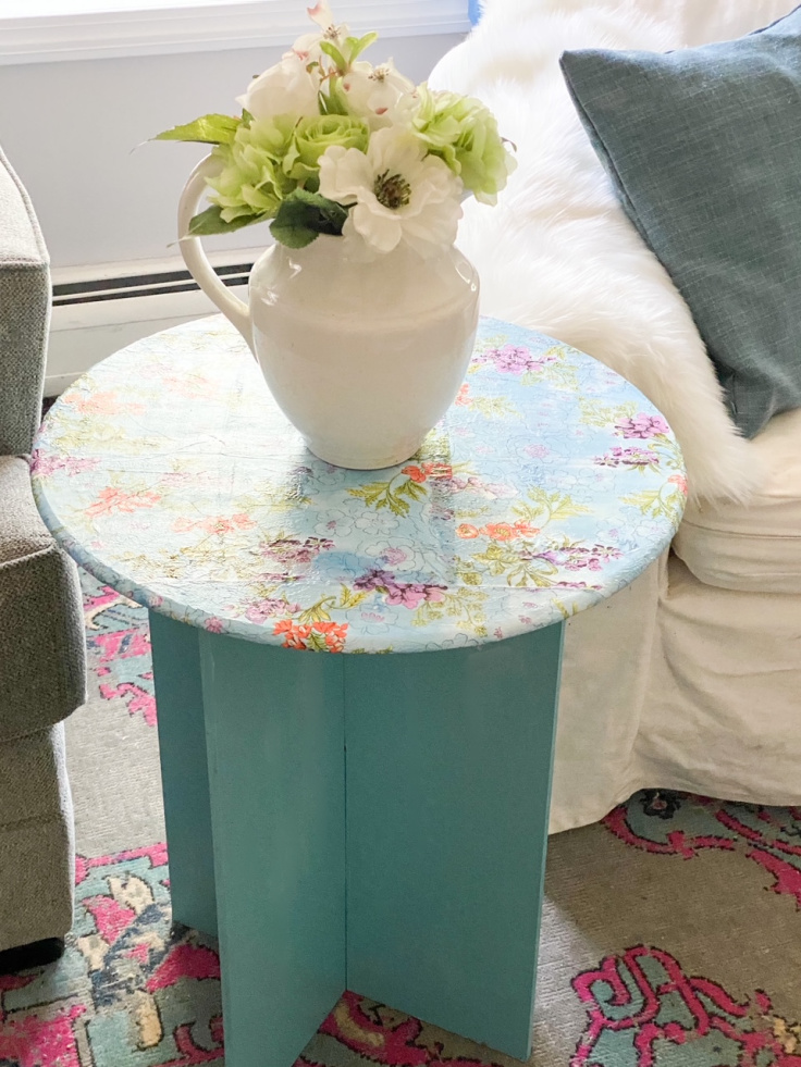 finished table makeover with mod podge and napkins
