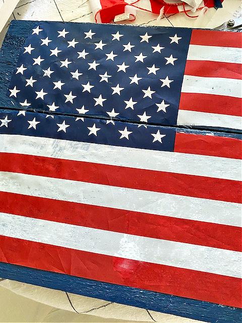 American flag on pallet wood