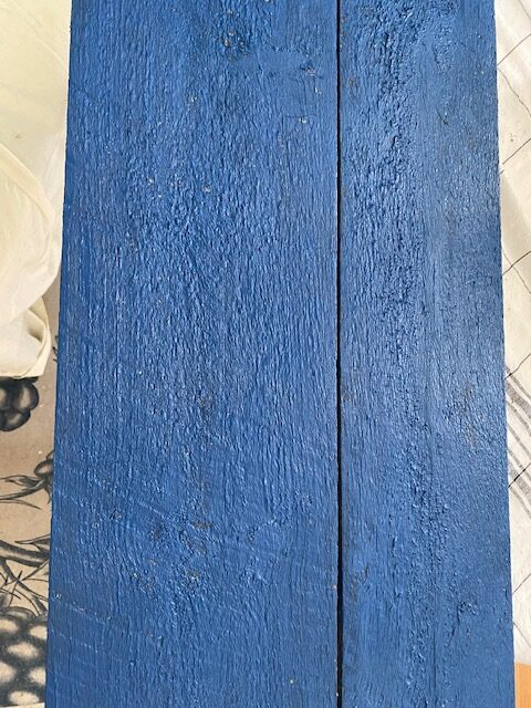 blue painted pallet wood for American flag sign