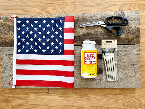 Supplies for Patriotic DIY Pallet Wood American Flag Sign