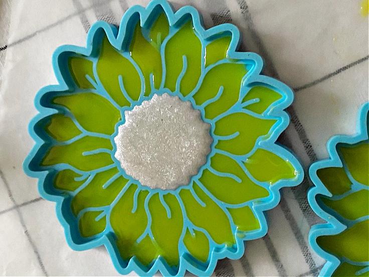 resin drying in sunflower mold