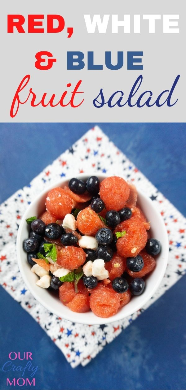 Make A Tasty Patriotic Red, White, and Blue Fruit Salad pin image