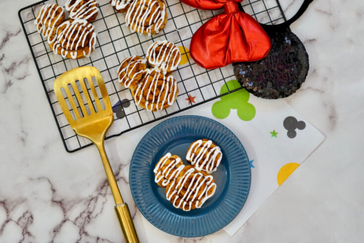 air fryer mickey mouse cinnamon rolls on cooling rack