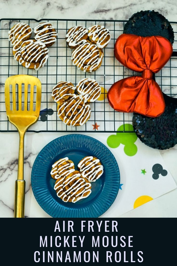 Adorable Air Fryer Mickey Cinnamon Rolls pin image with text overlay