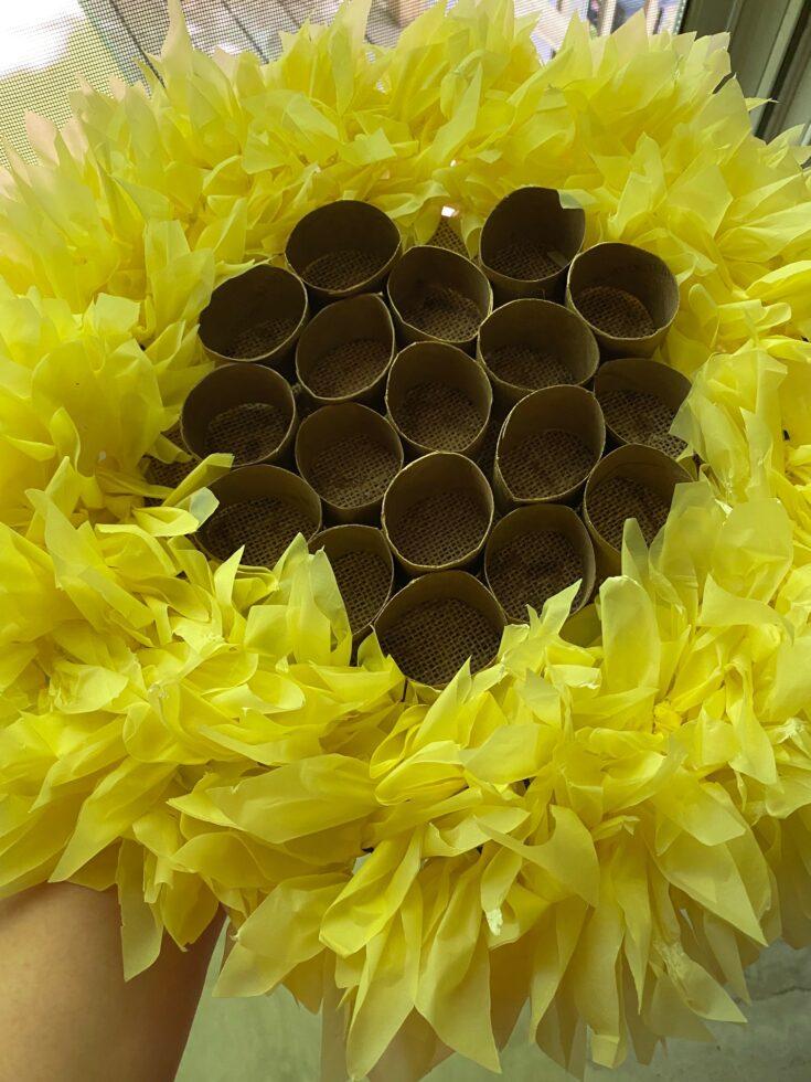 close up of honeycomb wreath