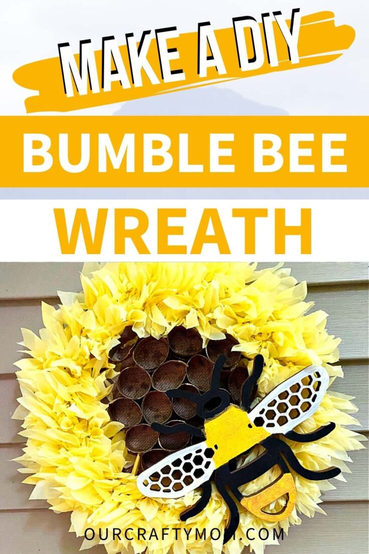 Bumble Bee Wreath pin image with text overlay