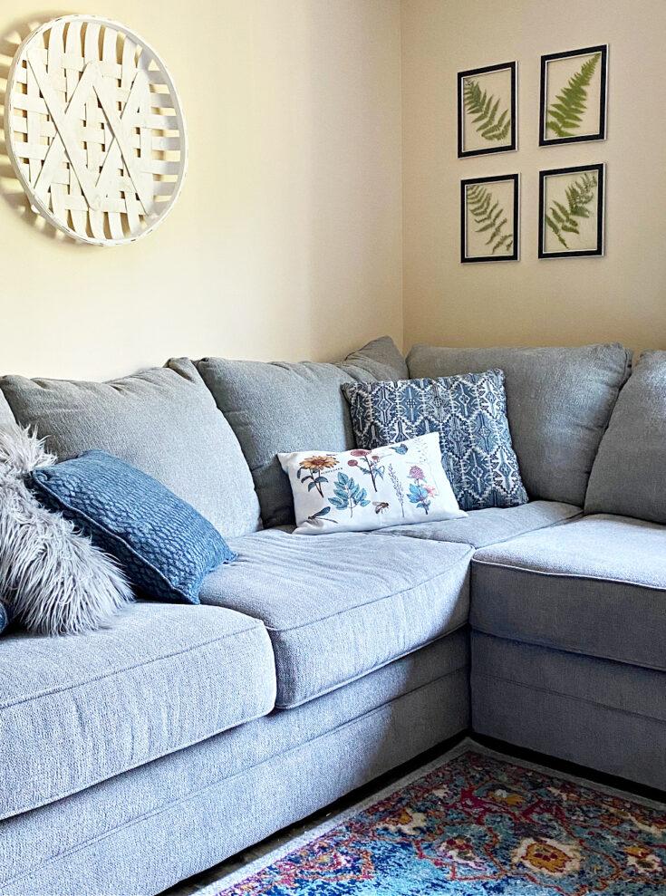 pressed fern art in living room