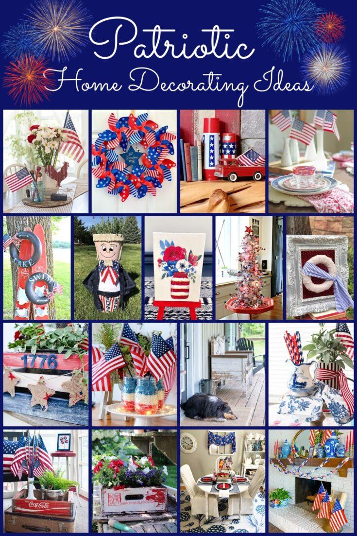 patriotic home decor pin collage