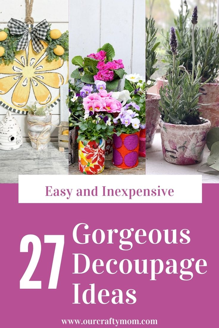 diy decoupage ideas pin collage with text overlay