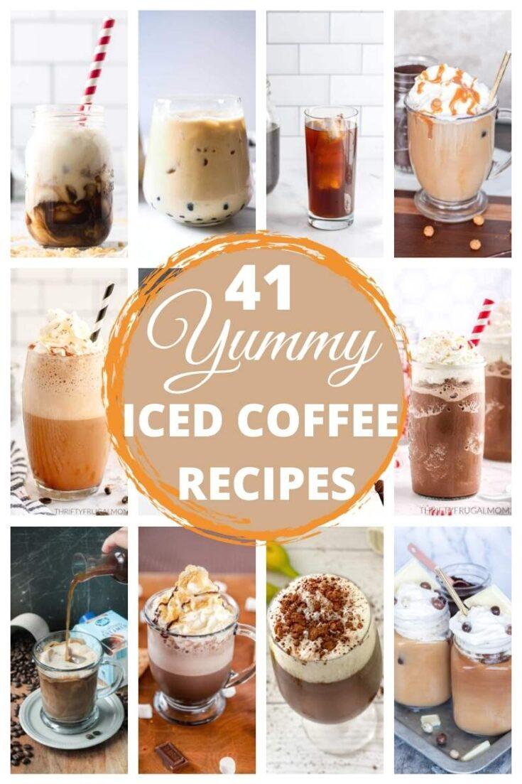 homemade iced coffee collage