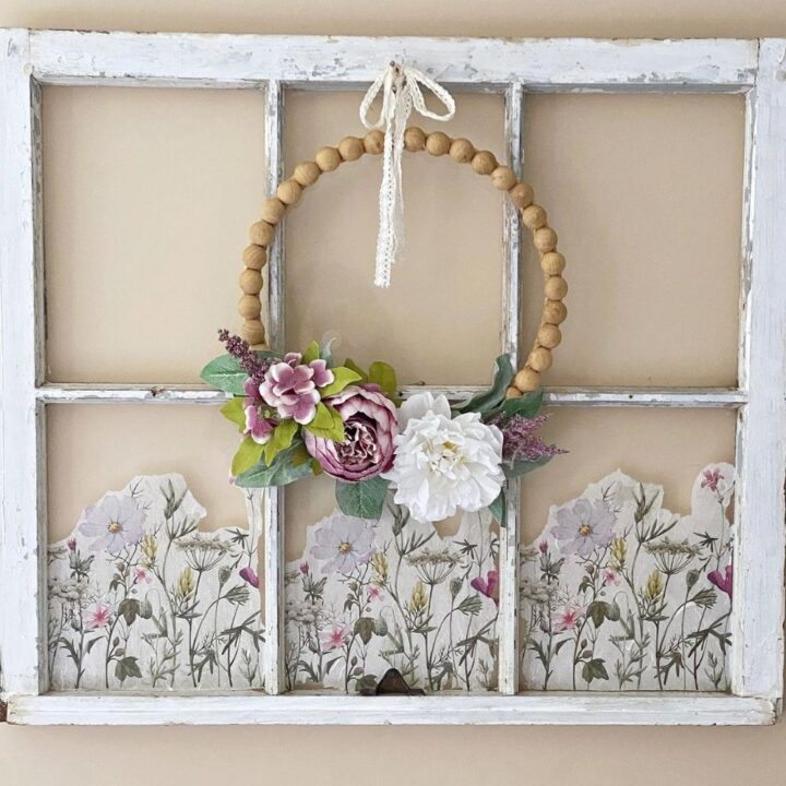 wood wreath on old window