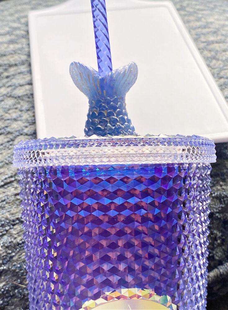 mermaid resin straw topper on starbucks tumbler