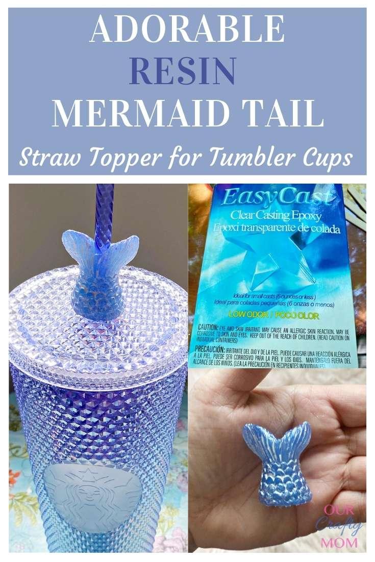 mermaid resin straw topper on summer starbucks tumbler