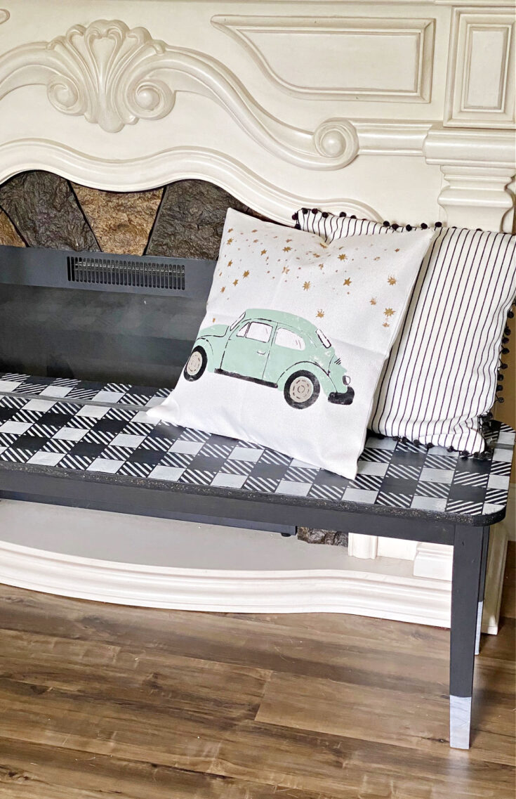 buffalo check bench with vw pillow