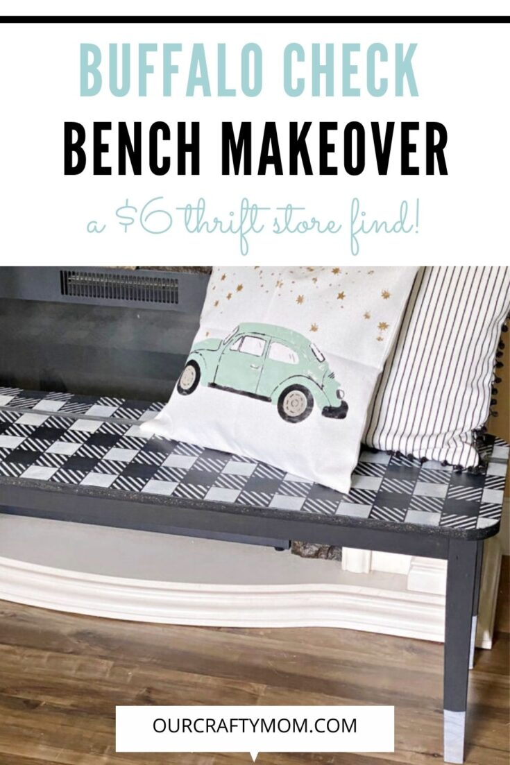 buffalo check bench makeover with text overlay