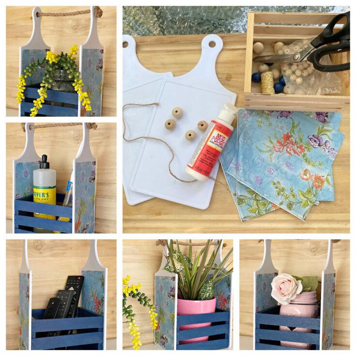 DIY Dollar Tree Cutting Board Craft - Adorable Farmhouse Caddy