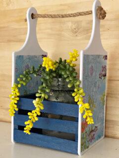 succulent in Dollar Tree Cutting Board caddy