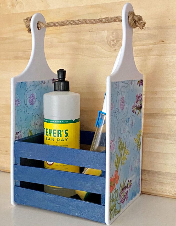 DIY Dollar Tree Cutting Board Craft sink caddy