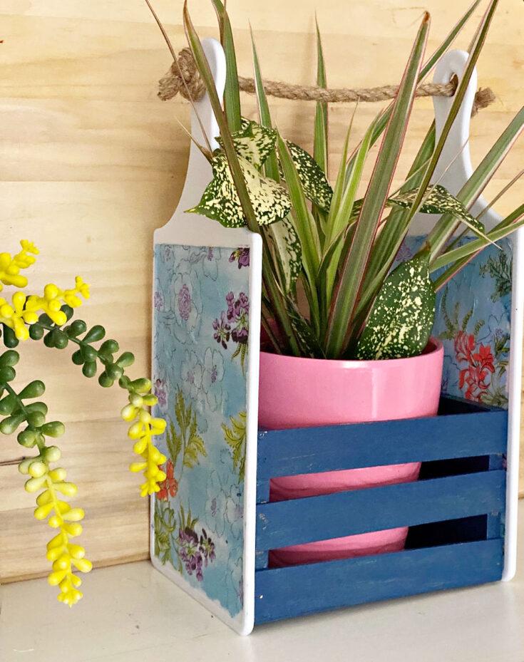 DIY Dollar Tree Cutting Board Craft with succulent