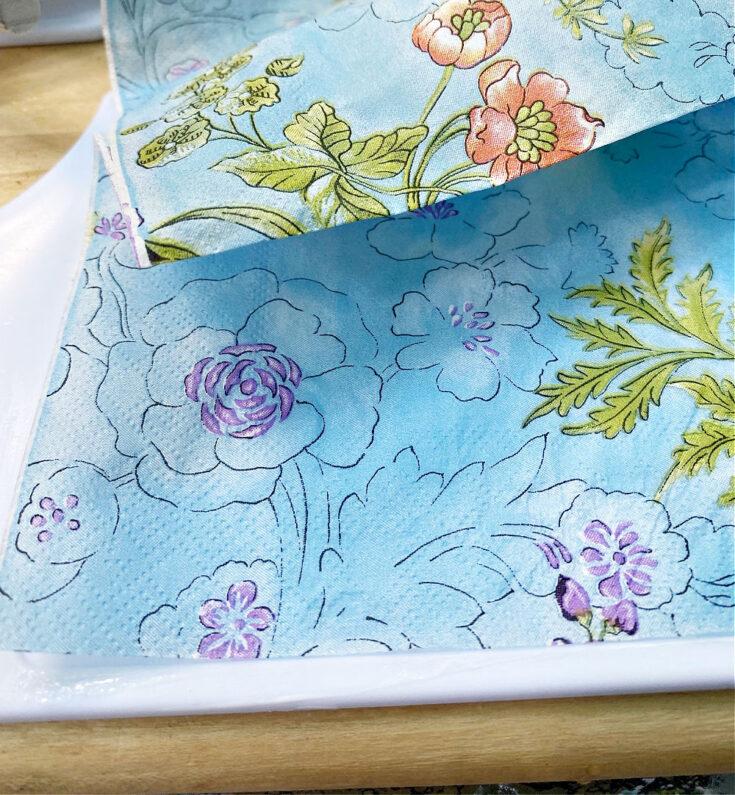 placing napkin on cutting board