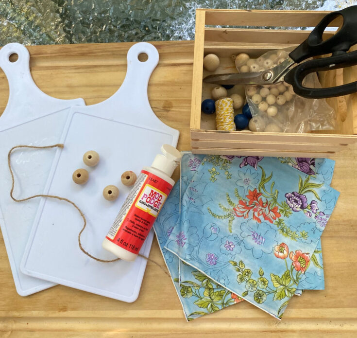 supplies for Dollar Tree Cutting Board Craft