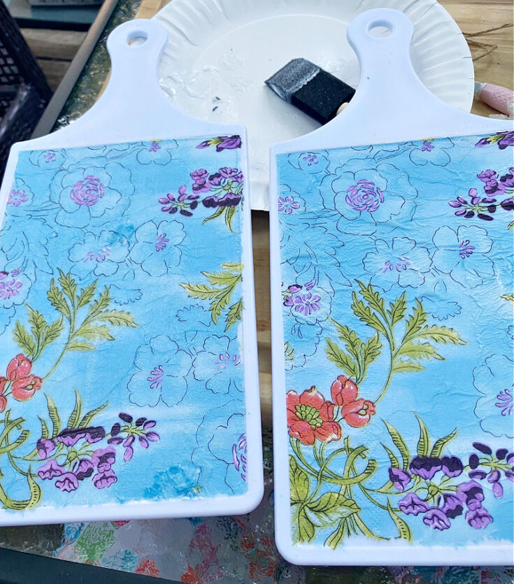 2 dollar tree cutting boards with mod podged napkins