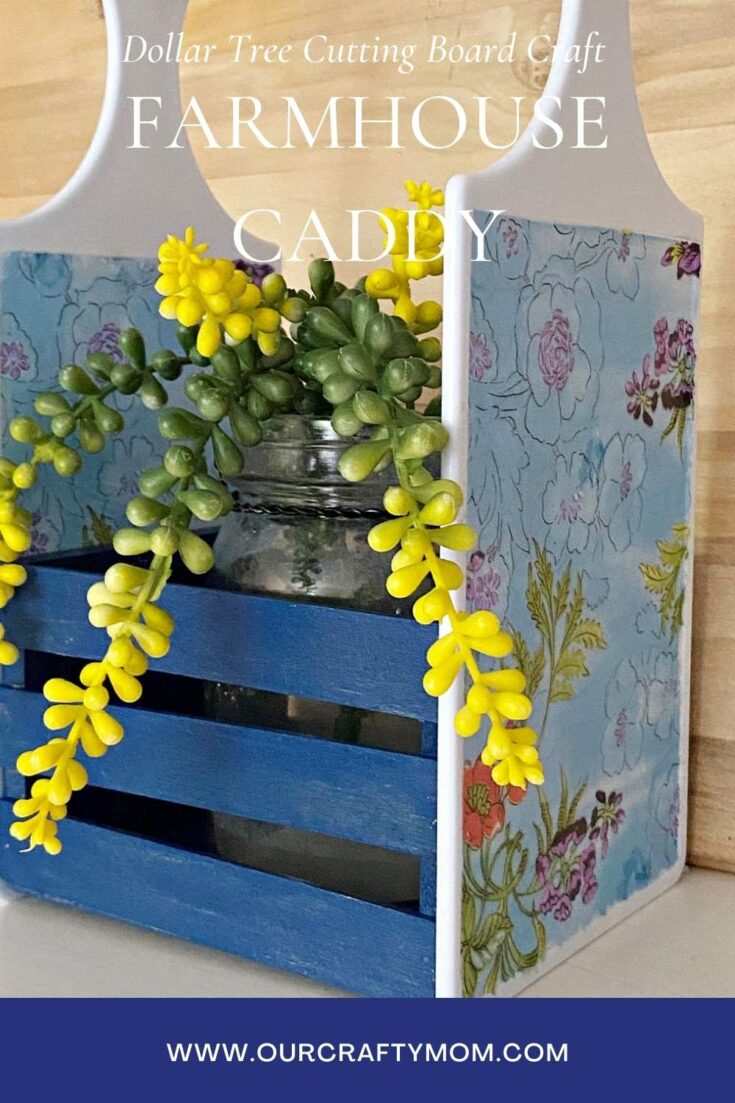 Dollar Tree Cutting Board Craft Farmhouse Caddy pin image